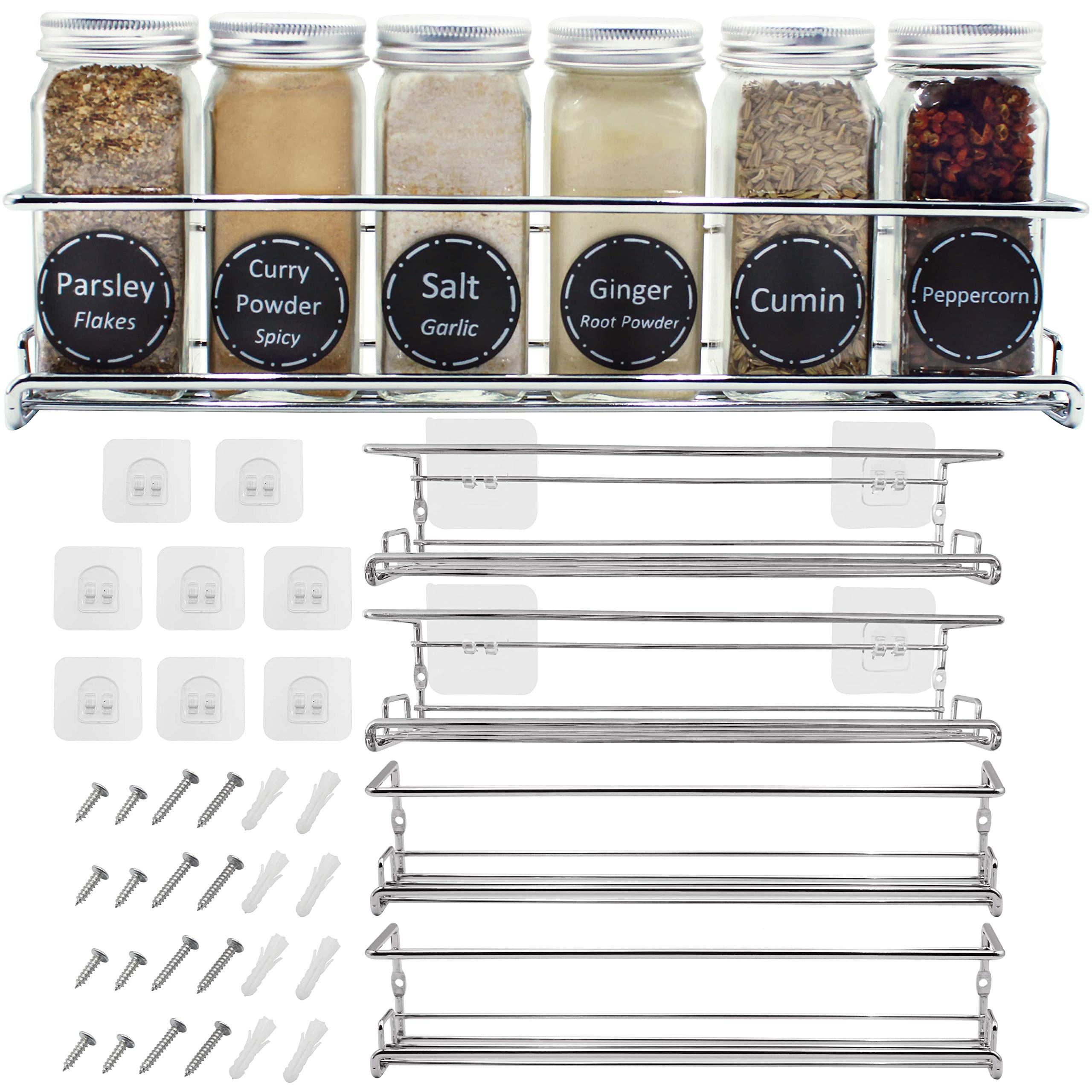 Amazon Com Spice Racks Organizer For Cabinet Door Mount Wall Mounted Unique Racks Design To Secure Jars Set Of 4 Spices Seasoning Chrome Hanging Shelf Kit Storage In Kitchen Pantry