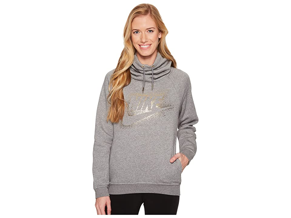 Nike Sportswear Rally Metallic Funnel-Neck Pullover Hoodie (Carbon Heather/Cool Grey) Women