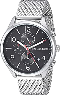 Michael Kors Men's Merrick Analog-Quartz Watch with Stainless-Steel Strap, Silver, 20 (Model: MK8644)