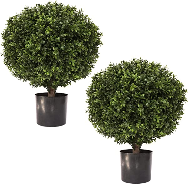 24 Tall 16 Round Artificial Topiary Ball Boxwood Trees Set Of 2 By Northwood Calliger Highly Realistic Potted Shrubs For Indoor Outdoor UV Protected