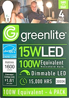 Greenlite, 15 Watt LED, 100 Watt Equivalent, Dimmable, 1600 Lumens, 3000K 4 Pack