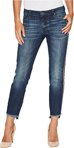 KUT from the Kloth Reese Ankle Straight Leg w/ Uneven Hem in Analyzed w/ Medium Base Wash