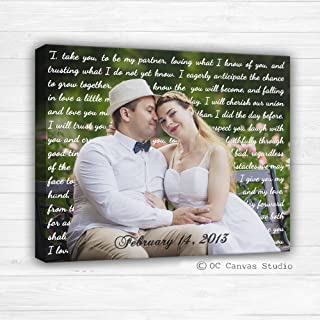 Photo with Lyrics, Wedding Song, Vows, Love Story. anniversary gift Personalized Couple Gift Photo with Words First Dance Lyrics Behind Photo Wedding Canvas Decor. Y Unique Custom Wall Decor.