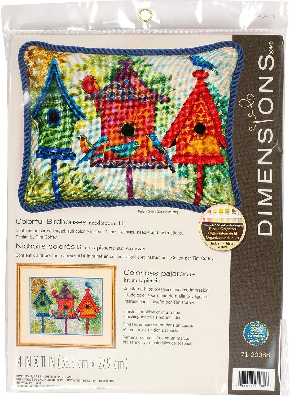 Dimensions Colorful Birdhouse Needlepoint Kit Bargain sale Printed 14 Virginia Beach Mall Mesh C