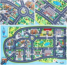 """New York City Kids Play Mats for Toddlers. Educational, Road & Car Map Rug. Large 75"""" x 45"""" Floor Playmat for Children. Id..."""