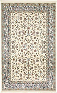 Nain Collection Persian Isfahan Design Traditional Area Rug (5' x 8' FT) Ivory Living & Dinning room Décor