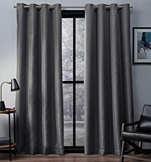 Exclusive Home Curtains Eglinton Woven Blackout Window Curtain Panel Pair with Grommet Top, 52x96, Black Pearl, 2 Piece,EH...