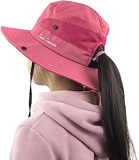 Kids Girls Ponytail Summer Sun Hat Wide Brim UV...