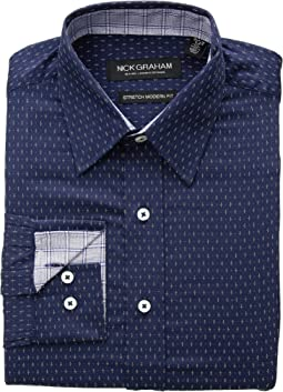 Cross Dot Print CVC Stretch Dress Shirt