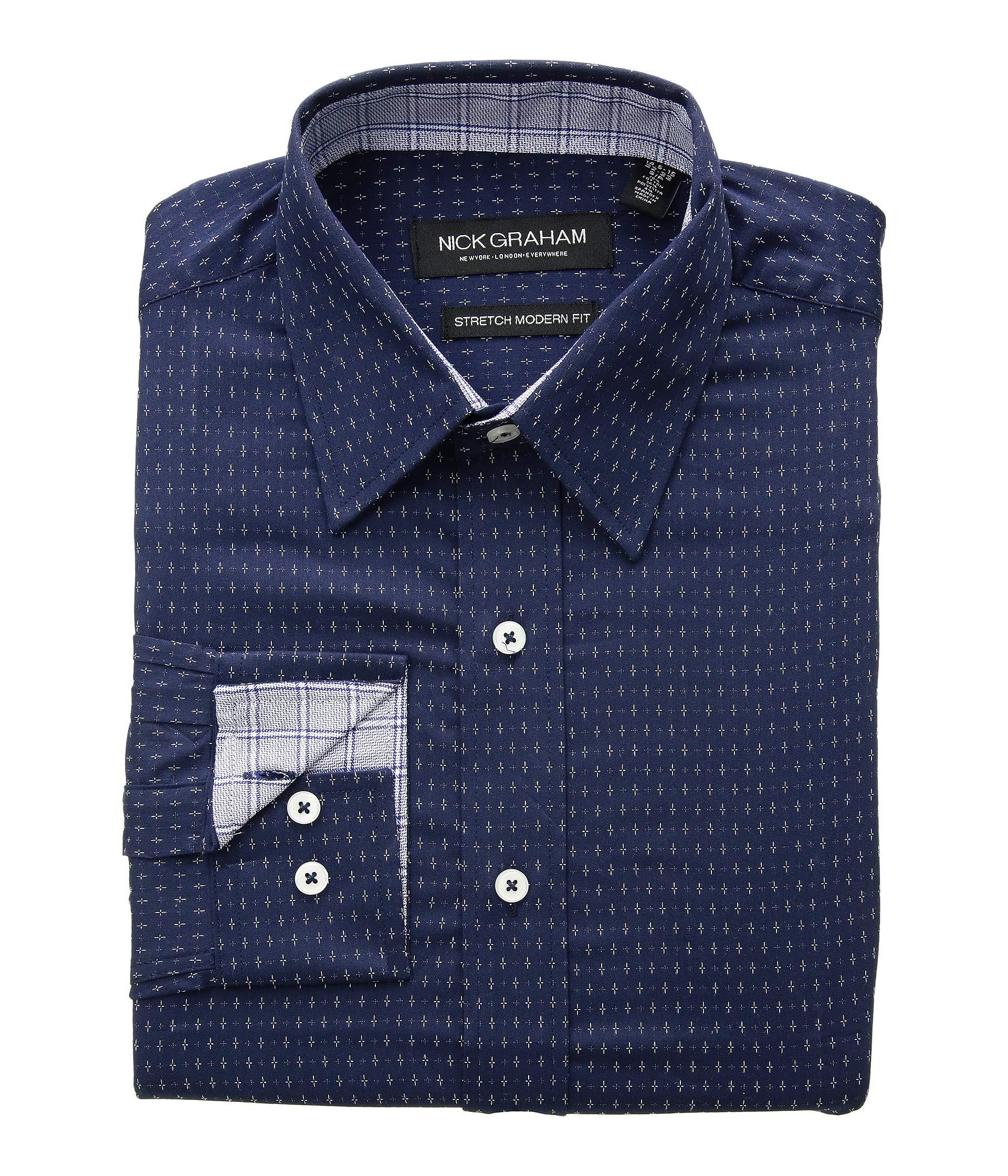 Navy Cvc Cross Dress Shirt Print Graham Stretch Nick Dot wAz8qAT