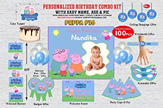 WoW Party Studio Personalized Peppa Pig Theme Birthday Party Supplies with Birthday Boy/Girl Name - Combo Kit #1 (100 Pcs)