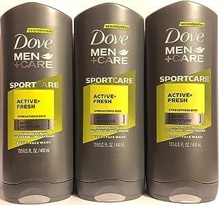 Dove Men + Care - Body + Face Wash - Sport Care - Active + Fresh - Net Wt. 13.5 FL OZ (400 mL) Per Bottle - Pack of 3 Bottles