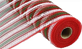 Snowdrift Metallic Stripe Deco Poly Mesh Ribbon - 10.5 inch x 30 feet (Red, White, Emerald)