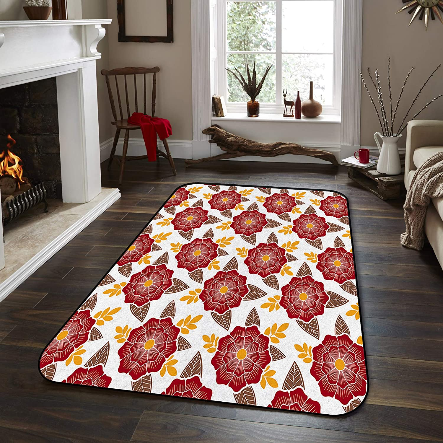 Soft Area Rugs for Bedroom outlet Flower Red Las Vegas Mall Patte Traditional Japanese