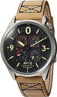 AVI-8 Men's 'Lancaster Bomber' Quartz Stainless Steel and Leather Aviator Watch