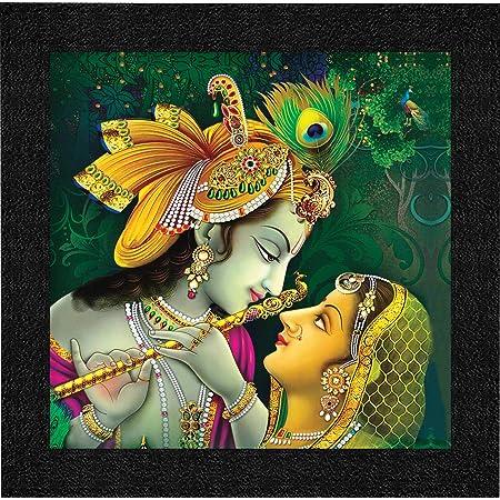 SAF Radha Krishna UV Coated Home Decorative Gift Item Framed Painting 12 inch X 12 inch SAANF6137