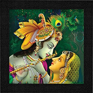 SAF Radha Krishna UV Coated Home Decorative Gift Item Framed Painting 12 inch X 12 inch SAANF6137