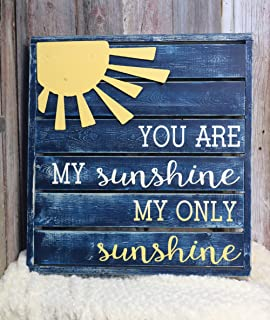 CELYCASY You are My Sunshine Backlit Large Pallet Style Sign with Metal Sun Embellishment