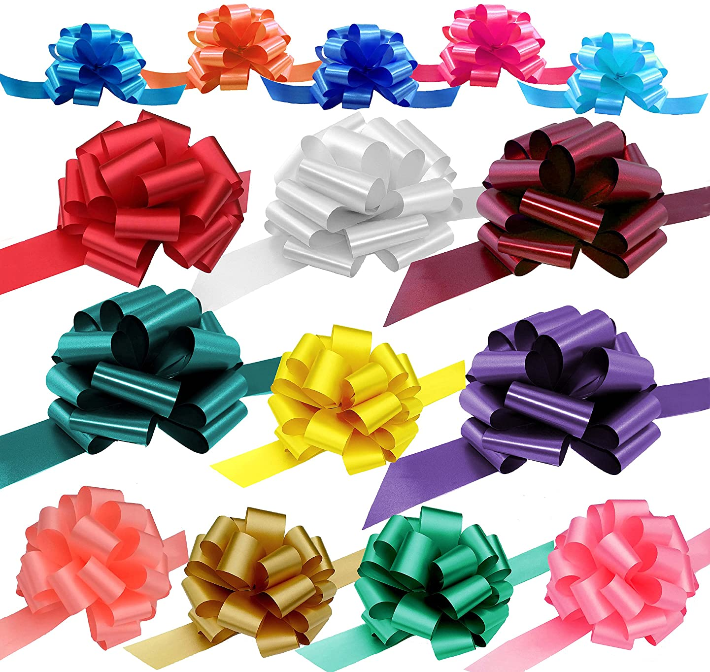 Assorted Gift Pull Bows for Easter, Christmas, Birthdays - Various Sizes, Set of 15, Red, Blue, White, Green, Valentine's Day, Variety Pack, Mother's Day