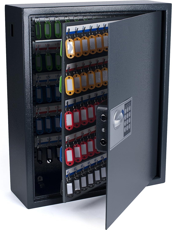 Pavo 8002719 Schlüssel Kasten Schrank Tresor, 150 Haken mit seitlichem Schlüsseleinwurf, metall dunkelgrau, 55 x 15 x 44 cm
