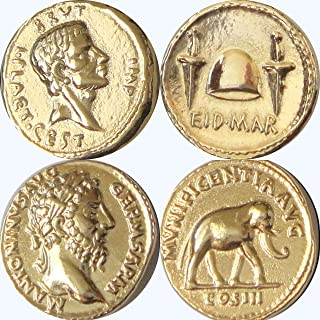 Golden Artifacts Brutus and Marcus Aurelius, Two Most Famous Roman Coins, Collectible Coin Sets, Roman Empire, 2 Coins (20+26-G)