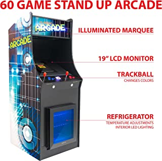 Creative Arcades Full-Size Commercial Grade Cabinet Arcade Machine | Built-in Refrigerator | Trackball | 60 Classic Games | 2 Sanwa Joysticks | 2 Stools | 19