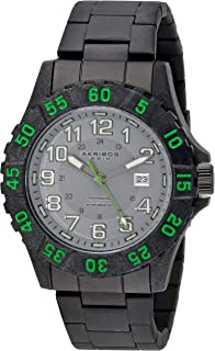 Men's Rugged Diving Watch - Coin Edged Bezel, Luminous Hands, Date Window On Stainless Steel Bracelet - AK794
