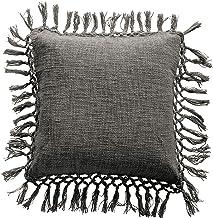 Bloomingville Grey Square Cotton Slub Tassels Pillow
