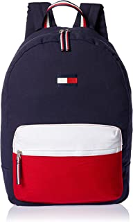 Tommy Hilfiger Joe Colourblock Canvas Backpack, Navy Blazer/Chili Pepper/Classic White