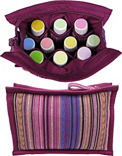 Medium Essential Oil Bag | Holds 6-8: 5mL -10mL - 15mL Oils | EO Pouch for Travel | Tall Enough for Roller Bottles | Perfect Size Case for Work or Home | Essential Oils Storage (Plum)