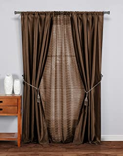 Duck River Textile Marvella Printed Sheer with Faux Silk Window Curtain Drape for Living Room & Bedroom-Set of 5 Panels, 37 X 84 Inch, Chocolate