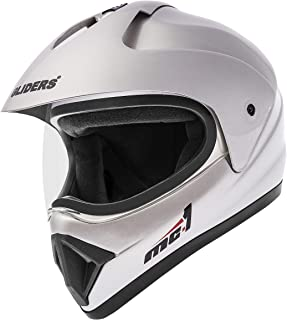 Gliders Motocross Helmet - MC1 (Silver with Tinted VIsor, 600mm)