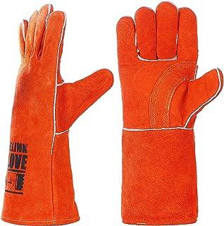 耐熱グローブ 牛革 手袋 キャンプグローブ 耐熱 防火手袋 溶接/BBQ/ストーブ/焚き火台/薪ストーブ アウトドア用 作業革手袋(オレンジ)