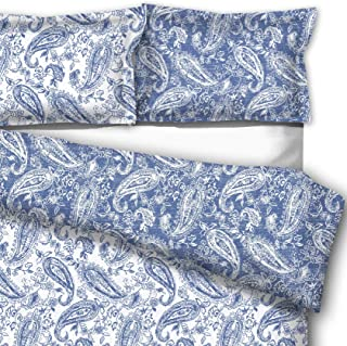 downluxe 3-Piece Down Alternative Comforter Set Queen - Reversible Paisley Design Comforter with 2 Pillow Shams, Blue Yonder