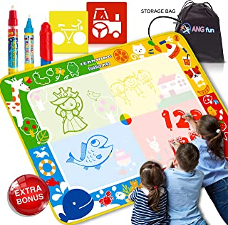 Aqua Magic Doodle Mat - Fun Easy to Use Educational Water Drawing Mat for Boys and Girls - with Water Pens in 3 Sizes, Stencil and Carry Bag. Water Painting for Kids and Toddlers. XL 40x28 Inches.