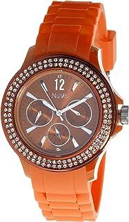 Nuvo - NU137 - Orologio analogico al Quarzo Donna - Bracciale in silicone Arancione - Elementi Swarovski e diamante