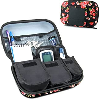 USA Gear Travel Medicine Organizer for Diabetic Supplies - Omnipod, Glucose Monitoring System, Syringes, Insulin Vials and Lancets - Compatible with ACCU-CHEK, Bayer Contour, TRUEtest - Floral