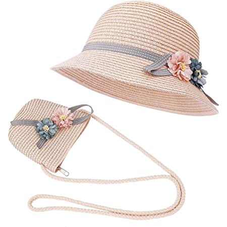 ISIYINER Sombrero de Paja Niñas Gorra de Sol Chica y Bolsillo Set con Decoracion de flores Gorro de Playa para Viaje Beach Piscina al Aire Libre