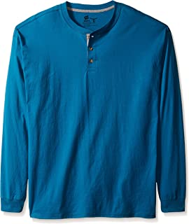 Men's Long-Sleeve Beefy Henley Shirt, Petro Teal, 2X Large