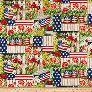 Springs Creative Products Susan Winget Patriotic Color Me Digital Woven Fabric, Red, Fabric By The Yard