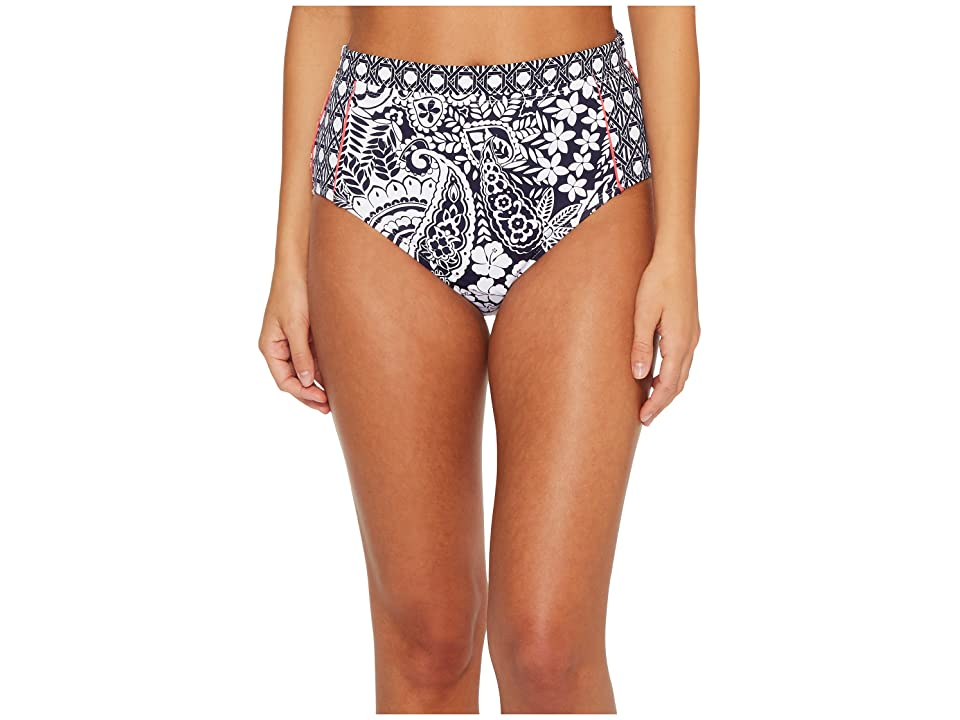 Tommy Bahama Paisley Paradise High-Waist Bikini Bottom (Mare Navy) Women