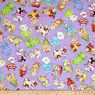 Loralie Designs Calico Cats Toss Purple Fabric by The Yard