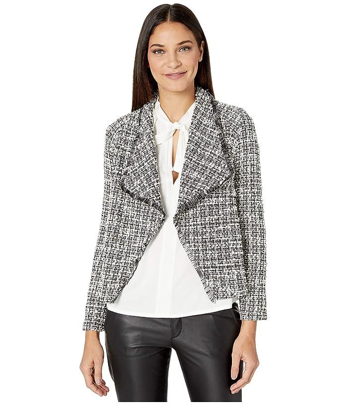 BB Dakota  Seeing Things Knit Tweed Drape Front Jacket (Black) Womens Coat