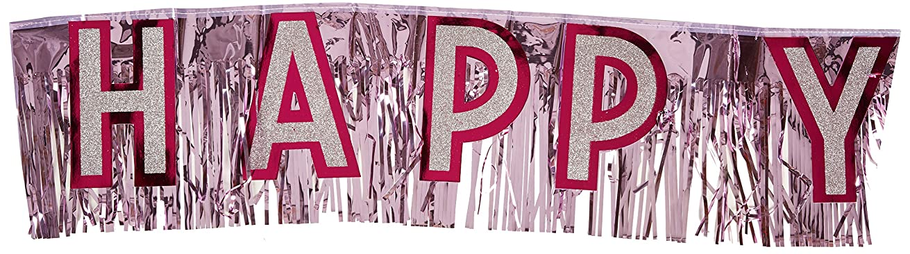 Metallic Happy Birthday Banner (pink w/silver gltrd pink ltrs) Party Accessory  (1 count) (1/Pkg)