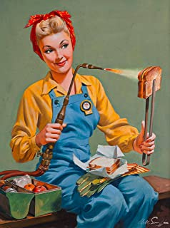 A SLICE IN TIME 1940s Pin-Up Girl Rosie The Riveter Welding Lunch Picture Poster Print Art Vintage Pin Up. Poster Measures 10 x 13.5 inches