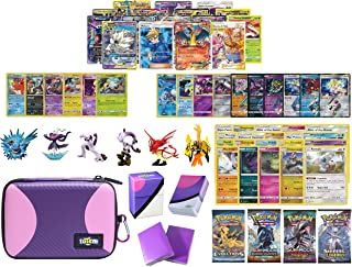 Totem World Pokemon Premium Collection 100 Cards with Tag Team GX Mega EX Trainer or Shining Holo, 10 Rares, 4 Booster Packs, 100 Protector Sleeves, Master Ball Theme Card Case, Deck Box and Figure