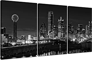NAN Wind 3 Pcs Wall Art Beautiful Dallas Skyline Black & White Canvas Art Paintings For Room Decor Dallas Cityscape Skyscrapers Night Scene Picture Prints On Canvas For Home Decor Modern Giclee Framed