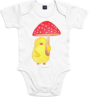Mr. & Mrs. Panda Baby, Strampler, 3-6 Monate Baby Body Küken Fliegenpilz - Farbe Transparent