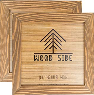 Rustic Wooden Square Frame 8x8 - Made to Display Pictures 8x8 - Set of 2-100% Natural Eco Wood - Real Glass - Wall Mounting Walnut Photo Frame