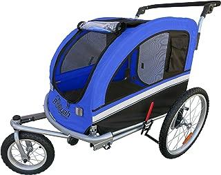 MB Booyah Large Pet Trailer Pet Bike Trailer & Jogger with Shocks - Blue